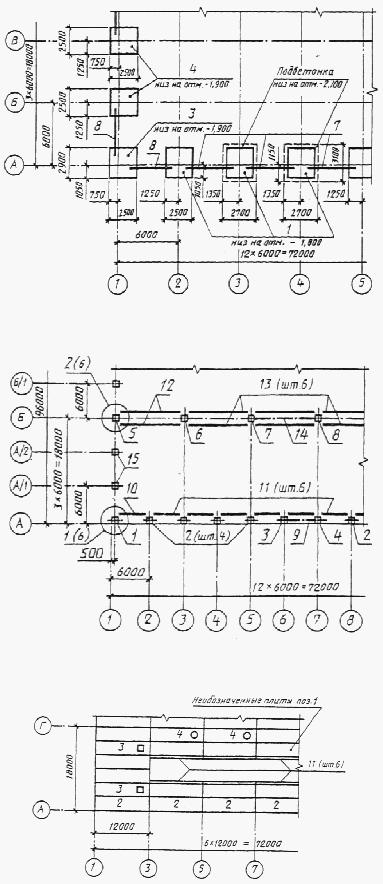 Схема расположения плит покрытия.